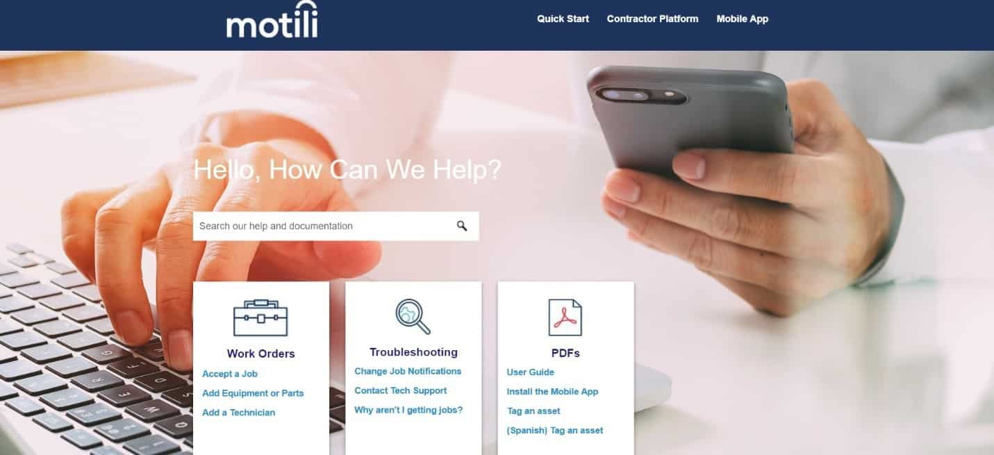 launching the motili help center