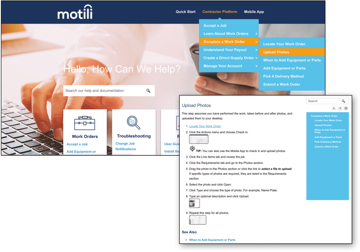 motili contractor help center drop down menu